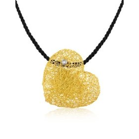 Orlando Orlandini 18kt Gold  and Diamond Heart Pendant on Velvet Cord, $3970 Retail