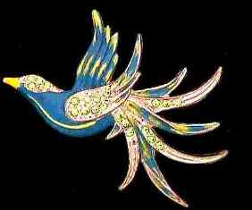 Enamel and Rhinestone Bird Brooch from 1930's or 40's, $47 Retail