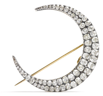 Large Antique Diamond Crescent Brooch From alvr.com