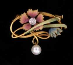 Lovely Estate Enamel, 18k Gold and Pearl Brooch, Alexandria Rossoff