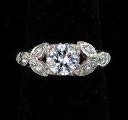 Retro Era Platinum Engagement Ring with app .70 ct center, Alexandria Rossoff