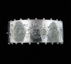 Circa 1885 English Silver Bracelet with Knobbed Sides From Alexandria Rossoff
