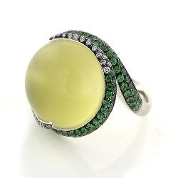 Green Garnet with Tsavorite and Diamond Ring in 18kt White by Gumuchian Fils, $1829 from Portero.com
