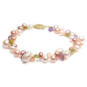 Amazon.com Freshwater Pearl, Citrine, Peridot, and Amythest Bracelet, $85 Retail
