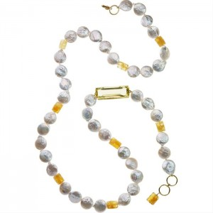 Freshwater Pearl and Citrine Sautoir from Vivre, 36 to 38 inches, $565 Retail