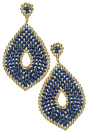 Karma Sapphire (18.72 ct) and Rose-cut Diamond (4.1 ct) Earrings