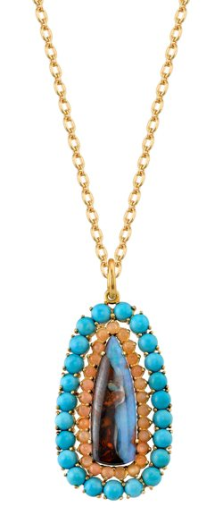 Boulder Opal, Turquoise, and Moonstone Pendant
