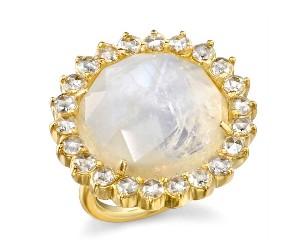 Moonstone and Rose-cut Diamond Ring