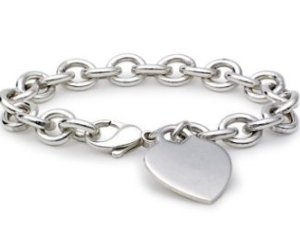 Blue Nile Sterling Silver Heart Tag Bracelet, $90 Retail