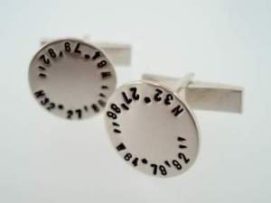 Latitude and Longitude Custom Engraved Cufflinks, $120 Retail