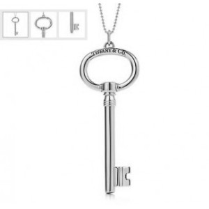 Tiffany and Co. Oval Key Small Pendant, Retail $175 with Chain